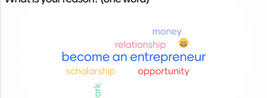 What is your reason to study business in the USA word cloud using Mentimeter