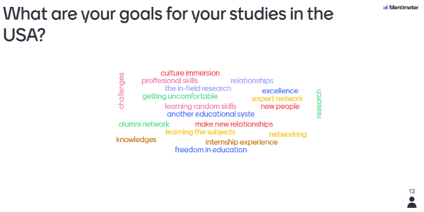 What are your goals for your studies in the US? Mentimeter responses