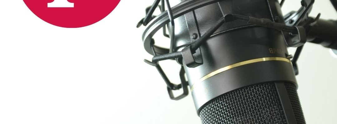 detail of broadcast microphone on the right. Inthe left upper corner Czech Fulbright logo in red. in the bottom Fulbright Podcast CZ
